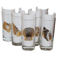 Culver Gold Seashell Glass Tumblers - Set of 7
