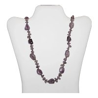 Polished Natural Amethyst Quartz Necklace - Stone and Nugget Shapes