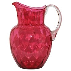 Blown Honeycomb Optic Cranberry Glass Water Pitcher