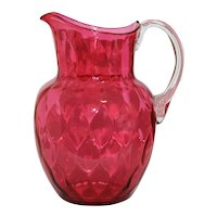 Large Honeycomb Optic Blown Cranberry Glass Water Pitcher