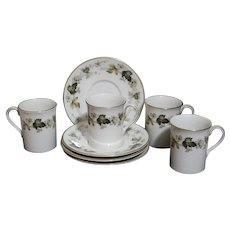 Set of 4 Royal Doulton LARCHMONT Demitasse Cups and Saucers