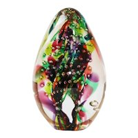 Glass Eye Studio Egg-shaped Art Glass Paperweight with Controlled Bubbles