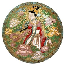 Chinese Cloisonne Enamel Trinket Box with Girl in Garden