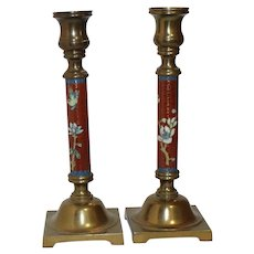 Chinese Cloisonne Enamel Brass Candlestick Holders