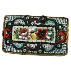 Early 20th Century  Italian Micro Mosaic Floral Brooch