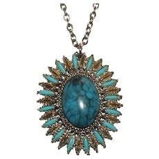 Southwest Faux Turquoise Sunburst Necklace