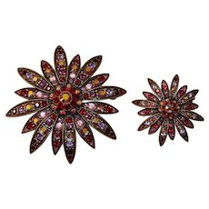 Pair of Joan Rivers Flower Brooches Crystallized with Swarovski