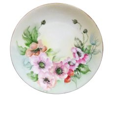 T & V Limoges Poppy Cabinet Plate - Hand Painted - Artist's Initials