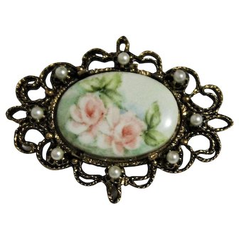 Hand Painted Porcelain Pink Rose Brooch with Faux Pearl Accents