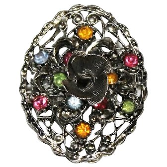 1940's Silver-tone Filigree Fruit Salad Rose Brooch