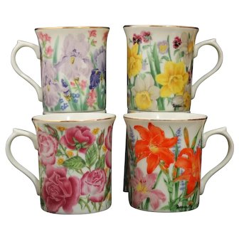 Lenox Suzanne Clee Flower Blossom Mug Collection - Set of Four - Rose - Iris - Daffodil - Day Lily