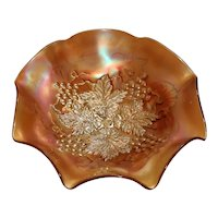 Northwood Marigold Carnival Glass Bowl - Grape Leaves - Blossoms and Palms