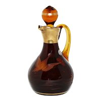 Bohemia Crystal Amber and Gold Cut Glass Cruet with Duck and Pond Scene