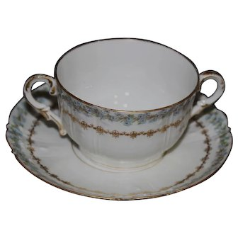 Charles Field Limoges Cream Soup Cup and Saucer with Blue Flowers and Gold Filigree