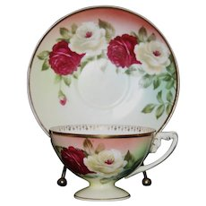Rosenthal Red and White Rose Tea Cup and Saucer