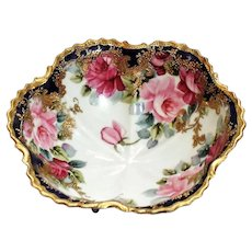 Antique Unmarked Nippon Footed Porcelain Bowl with Hand Painted Roses and Gold Moriage