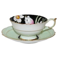 Paragon Hand Painted Green and White Tea Cup and Saucer with Floral Center - HM the Queen and HM Queen Mary