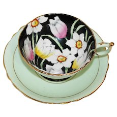 Paragon Green and White Tea Cup and Saucer with Floral Center - HM the Queen and HM Queen Mary