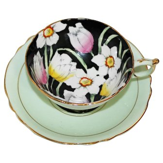 Paragon HM The Queen and HM Queen Mary Hand Painted Floral Tea Cup and Saucer