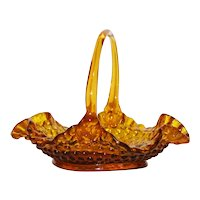 Fenton Art Glass Amber Hobnail Glass Basket