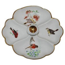 Castel Limoges Divided Dresser Tray with Birds and Flowers