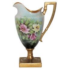Antique American Belleek Rose Pedestal Creamer - Ceramic Art Company