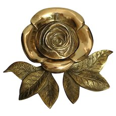 Antique Brass Rose Ink Well - Ink Stand