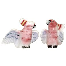 Mid-Century Pink Cockatoo Parrots Salt and Pepper Shaker Set