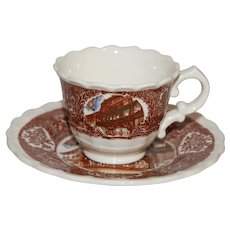 Vernon Kilns Scenes of Old New Orleans - Antoine's Restaurant - Child-size Souvenir Cup and Saucer