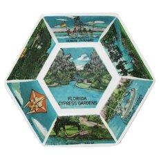 Vintage Cypress Gardens Florida Hexagonal Souvenir Dish