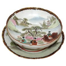 Hand Painted Japanese Porcelain Rice Strainer or Berry Straining Bowl with Underplate