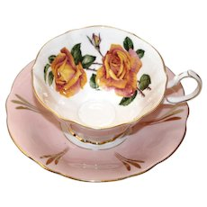 Queen Anne Sutter's Gold Roses Pink Tea Cup and Saucer