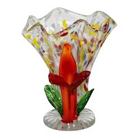 Ruffled Spatter Glass Vase with Red Flower