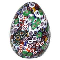 Murano Millefiori Glass Egg Paperweight