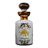 Countess Collection Bohemian Art Glass Enameled Floral Perfume Bottle