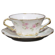 Theodore Haviland Limoges Cream Soup Cup and Saucer - Schleiger