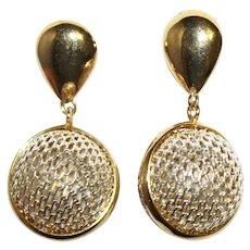 Sterling 925 Round Mesh Orb Dangle Pierced Earrings - Italy