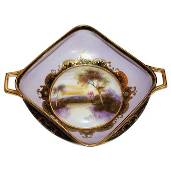 Noritake Morimura Castle by the Lake Square Handled Dish with Gold Moriage