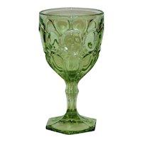 Fostoria Moonstone Green Glass Water Goblet
