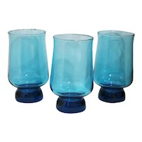 Vintage Footed Blue Glass Tumblers