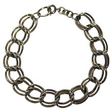 Sterling Silver Chunky Double Chain Link Charm Bracelet - Automade