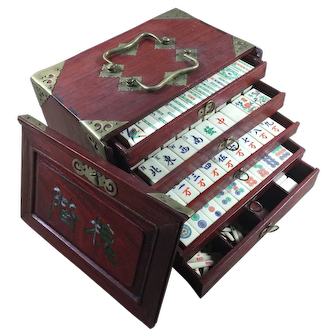 """A vibrant vintage """"BONE & BAMBOO"""" Mah Jong Game with Soaring Crane 1 bamboo & lovely """"plant pot flower tiles with traditional Rosewood case"""