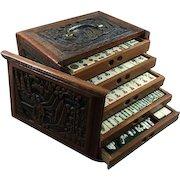 Unusual EUROPEAN carved case Vintage Bone & Bamboo Mah Jong game