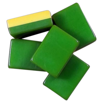 """Vintage """"2-TONE AP GAMES"""" vibrant GREEN Mah Jong game - 152 tiles - Chinese or NMJL rules ready !"""