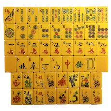 Deep butterscotch vintage EASTERN mah jong game - complete with 152 tiles including16 flowers