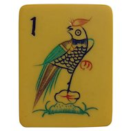 "Vintage ""CHINESE BAKELITE"" Mah Jong game with funky parrot 1 bam - 152 tiles - Chinese or NMJL rules ready !"