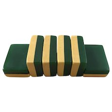 Classy ROTTGAMES - 50/50 2-tone - EMERALD GREEN vintage mah jong game in original stunning zippered case - fabulous game with 152 tiles!