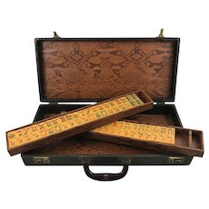 """Vintage """"CARDINAL"""" Mah Jong game in beautiful case - 152 tiles - Chinese or NMJL rules ready !"""