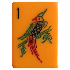 Vintage Mah Jong Game - MET PARROT style - with 152 gorgeous tiles ready for NMJL or Chinese play