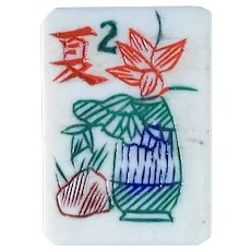 "70/30 THICK - bone & bamboo vintage Mah Jong game - gorgeous ""plant pot"" flowers - 152 tiles ready for NMJL or Chinese play"